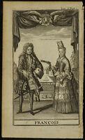 1705 - Grabado Antigua, Traje Francés (François)