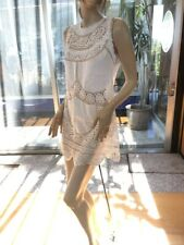 Lim'S Vintage Hand Crochet Embroidery Zipper Back Cotton Dress One Size White