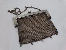 Antique Victorian Mesh Chain Purse Stamped German Silver CB