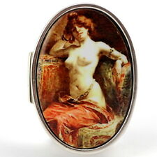 EROTIC VICTORIAN STYLE GYPSY ENAMEL PILL BOX 925 SOLID STERLING SILVER