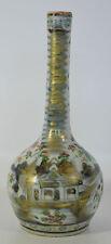 Un 18th Century Porcelana China paliza cantón Botella Jarrón Azul y Blanco