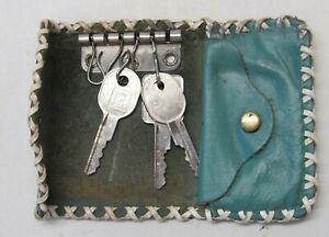 Vintage Blue Turquoise Leather Key Holder Hand Stitched Laced Rolf's