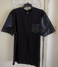 Southpole Men's Solid  Black T-Shirt with Faux Leather Sleeves and Pocket,XXL