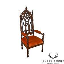 Gothic Antique Carved Walnut Throne Arm Chair