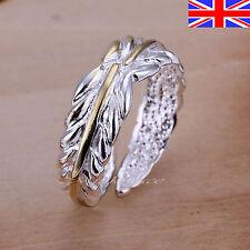 925 Sterling Silver plt Adjustable Silver Ring Leaf Thumb Finger Rings Band