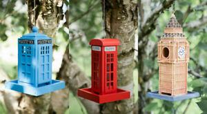 Novelty Hanging Bird Feeders With S Hooks Police Box Telephone Big Ben Garden