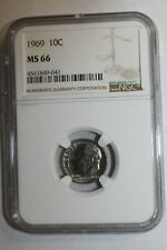 1969 Roosevelt Dime MS66 NGC KEY DATE #41