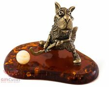 Bronze Solid Brass Amber Figurine Wolf hockey player Russian folk story