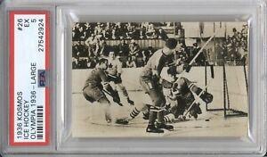 "1936 Kosmos ICE HOCKEY ""AMERICA vs CANADA #26 PSA 5 EX Olympic Card"