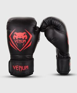 VENUM 1109 Contender 16 Ounce Boxing Gloves, Black Red MMA Muay Thai Kick Boxing