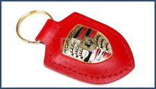 Genuine Porsche Leather Crest Key Fob Red Keyring Chain Ring OEM WAP0500920E