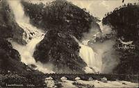 Odda Norwegen Norge Laatefossen Zwillings Wasserfall AK ~1930 gelaufen 1959