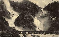 Odda Norvegia NORGE laatefossen gemello cascata AK ~ 1930 1959 spedita