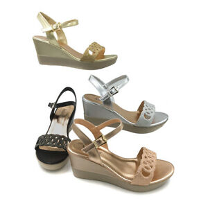 Footwear Sale Women Holiday Sparkling Ladies Summer Wedges Sandal Back Buckle