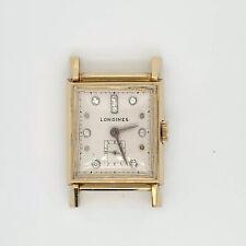 Vintage Longines 14k Yellow Gold Tank Diamond Watch Rectangle Face