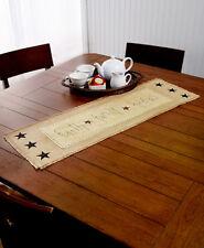 Primitive Country Folk Art Star Table Runner Family Faith Friends Table Runner