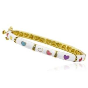 Little Miss Twin Stars 14K Gold Plated White Enamel Multi Color Hearts Bangle