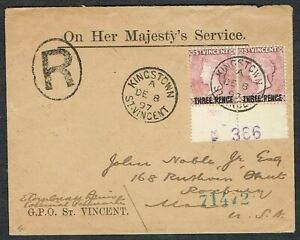 1897 ST VINCENT Registered OHMS to USA Pair 3d on 1d Mauve KINGSTOWN CDS Scarce
