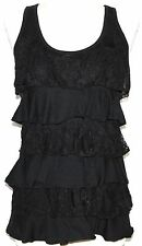 L GOTHIC STEAM PUNK GOTH GYPSY HIPPIE BOHO RUFFLE LACE EMO TANK BABY DOLL TOP