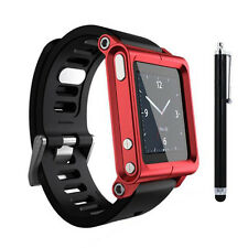 Red Aluminum Watch Band Wrist Band Bracelet Cover Case for Apple iPod Nano 6