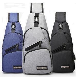 Men Women Shoulder Bag Sling Chest Pack USB Charging Sports Crossbody Back Pack