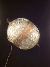 Antique Vintage Cut Glass? Crystal? Brass? Globe Sphere Ball Swag Hanging Light