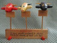 Vintage Japan wooden steer heads meat doneness picks w/ holder