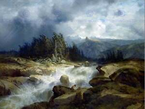 PAINTING LANDSCAPE CALAME MOUNTAIN STREAM WITH STORM ART PRINT POSTER LAH058