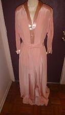 Vintage (40's) - Kamore peach, nylon & satin (trim) robe/dressing gown - Size 16