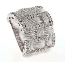 SILVER WEAVING STYLE CUBIC ZIRCONIA DOME BAND/ RING