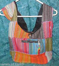 "Purse Patch Work NEW multi color Zipper 13"" x 11"" Cotton 3 Compartment 30"" strap"