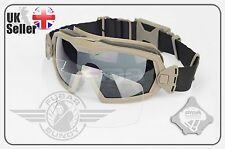 FMA - Airsoft Goggles / Eye Pro Inc Miniature Fan - Clear/Tinted Lens Tan/DE