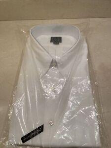Jos A Bank Men's Button Down EXECUTIVE WHITE DressShirt 18 1/2X35 100%Cotton NWT