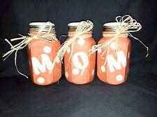 """Mom"" Set of 3 Ball Jars - Ceramic Self Watering Violet Flower Pots - Flat Bases"