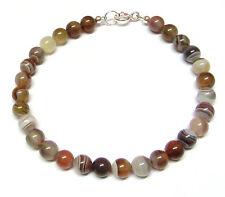 Sterling Silver Bracelet Genuine Semi-precious Botswana Agate Gemstone Beads 7.5