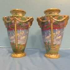Fabulous Pair Antique Hand Painted Nippon Swan Vases with Rams Head Handles!