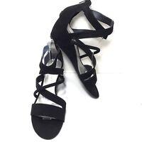 Women's ANA Black Faux Suede Cross Strap Wedge Heel Pumps Size 9 M