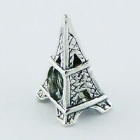 Silver bead Eiffel Tower 15mm height 925 sterling silver for charm bracelet