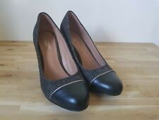 Boutique by HOTTER UK 6 Leather Block Heel Court Shoes Textured Herringbone