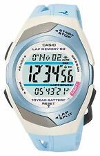 "New CASIO PHYS Digital Watch Light Blue/White STR-300J-2CJF ""LAP MEMORY"" Men's"