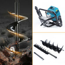 52cc Gas Powered Post Hole Digger Auger Borer Fence Ground With2 Drill Bits Us