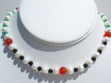 White Pearl / Carnelian / Black Agate / Jade Beads Necklace JN871