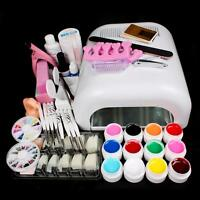 Pro Full 36W Cure Lamp Dryer & 12 Color UV Gel Nail Art Tools  Sets