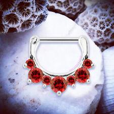 ELODIE Red Crystal Septum Clicker Fancy Septum Rings Crystal Cartilage Hoop UK