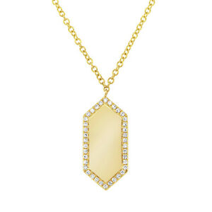 0.09CT 14K Yellow Gold Natural Diamond ID Dog Tag Engravable Pendant Necklace