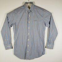 Men's Peter Millar Button Down Dress Shirt Long Sleeve Plaid Medium 100% Cotton