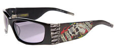 Ed Hardy EHS-015 Death Is Certain Sunglasses - Blk/Gry Case Box Cloth Card NWT