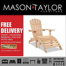 Gardeon Outdoor Beach Chair Wooden Adirondack Lounge Furniture Foldable Ottoman