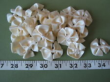"7076 RIBBON BOWS Ruffled Cream Off White Satin 1 1/2"" W 24 Pcs UNIQUE"