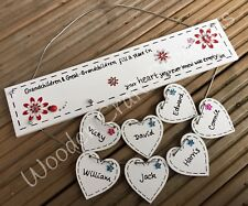 Personalised Handmade Wooden Grandchildren Plaque Grandparent Sign Gift 8 Hearts